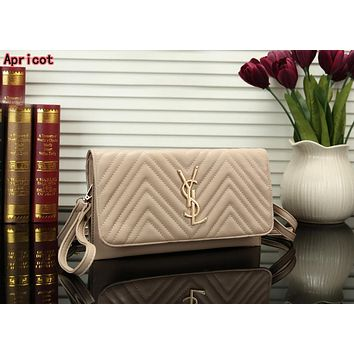 YSL Hot Sale Fashion Women Handbag Leather Shoulder Bag Crossbody Satchel Apricot