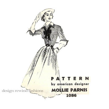 1950s Spadea DRESS Pattern MOLLIE PARNIS Designer Shirtwaist I Love Lucy Dress SpADEA 1086 Bust 30 Vintage Mail Order Womens Sewing Patterns