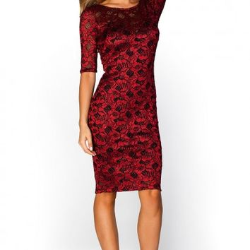 Bellarose Red V Back Sparkly Glitter Lace Midi Dress with Sleeves
