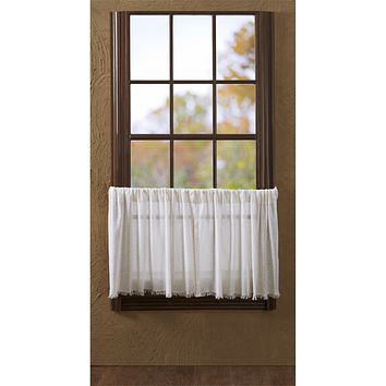 Tobacco Cloth Antique White Fringed Tier Curtains 24""