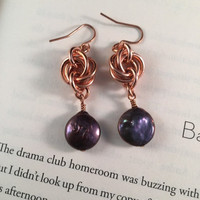 20% off sale Love Knot Pearl Earrings, copper chainmail moebius, purple freshwater pearl