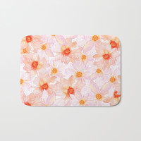 orange and pink watercolor dahlias Bath Mat by Sylvia Cook Photography