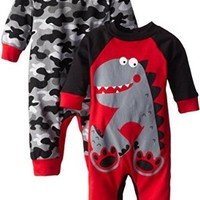 Gerber Baby-Boys Newborn 2-Piece Long Sleeve Coverall Set- Dino, Red, 3-6 Months