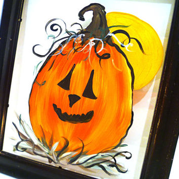 Jack-o-lantern PUMPKIN HALLOWEEN PICTURE Hand Painted Glass 12 Inch Distressed Black Wood Frame Fall Colors Sawtooth Hanger 90s Decor