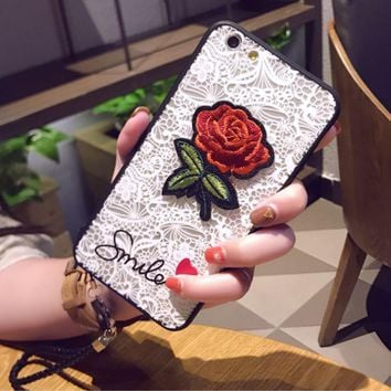 Fashion Roses Embroidery  Lace iphone 8 8plus iPhone6 6s 6plus 6s-plus iPhone 7 7plus iPhone Phone Cover Case
