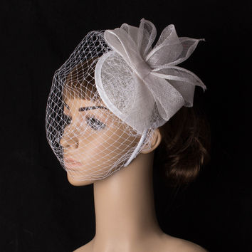 Fancy color sinamay fascinator headwear colorful mesh bridal veils wedding show hair accessories millinery cocktail hat MYQ097