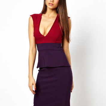 Vesper Pencil Dress with Plunge Neck In Colour Block
