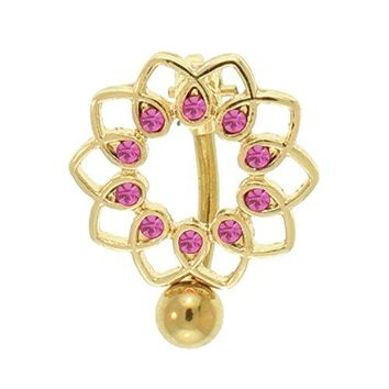 Belly Button Ring Vertical Reverse Navel Bar Pink Cristals Gold Steel 14G Body Piercing Jewelry
