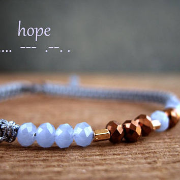 HOPE inspiration jewelry, secret message gift, blue crystal, mother sister bracelet gift, morse code, friendship, custom name, girl, her