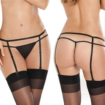 Sexy Women Lady Suspender Garter Belt G-String Thong Set