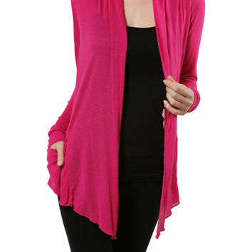 Long Sleeve Draped Open Front Cardigan
