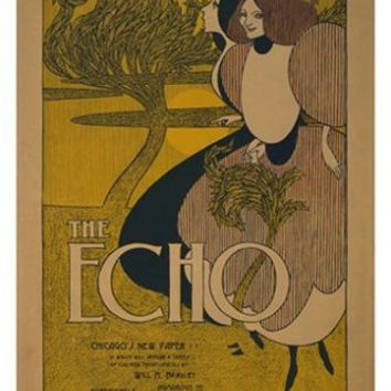 THE ECHO vintage ad poster CHICAGO'S newspaper POLITICAL historic 24X36