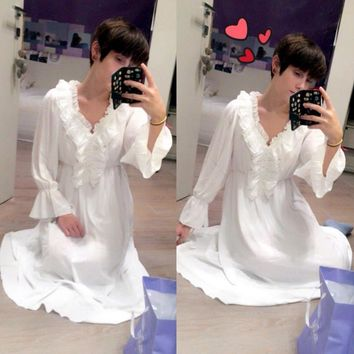 2017 2017 Princess Nightgown Women's Winter Long Robe white Vintage Chiffon Princess Nightgown Sleepwear pijama B3892