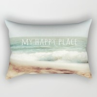 Beach - My Happy Place Rectangular Pillow by ALLY COXON | Society6