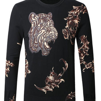 Abstract Tiger Printed Slim-Fit Pullover Sweater