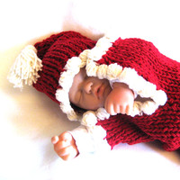 Santa Baby Cocoon and Hat - Red Hand Knitted Merino Wool - Christmas Gift - Photo Prop Bunting