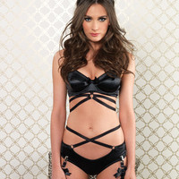 Cage Strap Bra and Panty Set  - Black - Small