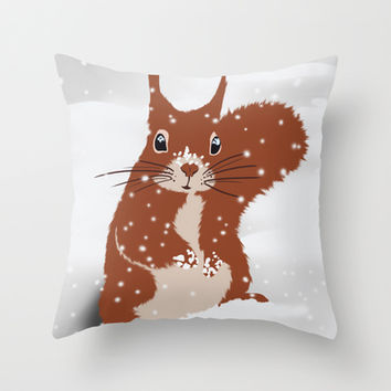 Red squirrel in the winter snow with white snowflakes cute home decor nursery drawing Throw Pillow by Bad English Cat