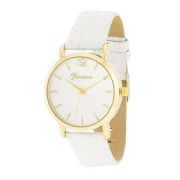 White Glitter Band Geneva Watch