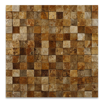 1 X 1 Gold / Yellow Travertine HI-LOW Split-Faced Mosaic Tile