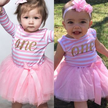 Summer Todder Girl Outfits Children Clothing Girl Letter One Two Baby Dresses For Baptism Party Baby Girl 1 Year Birthday Dress