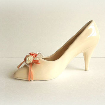 Vintage Enesco ceramic shoe vase, business card holder,  ivory and peach lace and pearls high heel shoe trinket dish, figurine