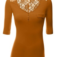 Back Lace Jersey Henley Top