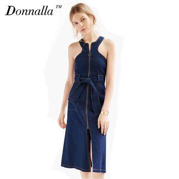 Pencil Shift Denim Dress Women Sleeveless Halter Summer Dresses Jeans Zipper Split Dresses For Women Knee Length Tie Waist Dress
