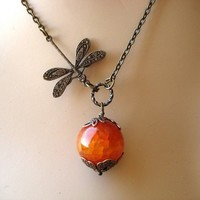 Agate Dragonfly Necklace in Fire by MDsparks on Etsy