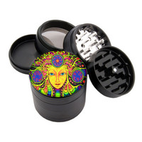 "Godess Face Design - 2.25"" Premium Black Herb Grinder - Custom Designed"