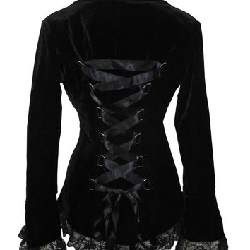 Victorian Steampunk Gothic Black Corset Lace-up Velvet Jacket