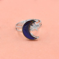 New  Women's Summer Fashion Jewelry Moon and Star Shape Color Change Mood Ring Emotion Feeling Changeable Band Adjustable