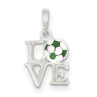 Sterling Silver Enameled & Polished Love Soccer Pendant QC7144