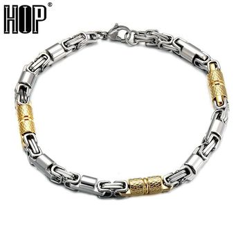 HIP Hop Two Gold Tone Color Titanium Stainless Steel 21CM 6MM Heavy Byzantine Link Chain Bracelets & Bangles for Men Jewelry