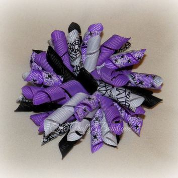Spiders & Webs Bow ~ Halloween Hair Bow ~ Korker Pigtail Bows ~ Purple and Black Bow ~ Halloween Korker Bow ~ Halloween Headband Bow