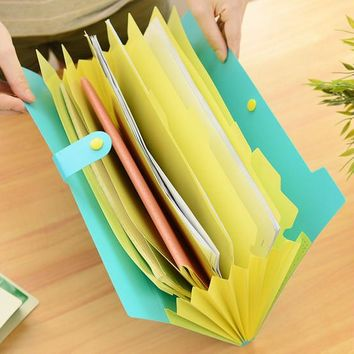 Korea Stationery Excellent Lovely Candy Color File expanding Folder 8index Portadocumentos A4 Document Bag 4colors Office