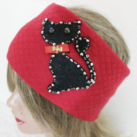 Red headband, black cat head, Stretch head, handmade headband, mohair headband, Stretch head, Bohemian Head, Head Wrap, Large Head