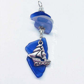 SeaGlass Pendant Cobalt Blue SEA GLASS Blues BeachGlass Sea Glass Jewelry Rare Beach Glass seaglass pendant texas gulf coast tumbled love