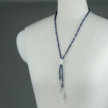 Sodalite pearl Stone pearl lariat long necklace Bridesmaids gifts Free US Shipping handmade Anni Designs