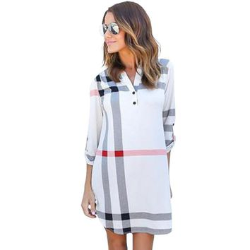 Women Casual Dress Long Robe Femme England Classical Plaid Printed Dress 2016 New Brand Autumn Loose Dress Office Dress