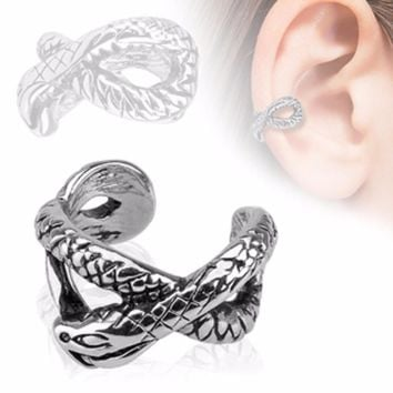 Snake Design Rhodium Plated Brass Non Piercing WildKlass Ear Cuff (Sold by Piece)