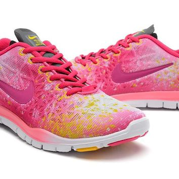 Women's Nike Free TR FIT 3 Print Camo Limited Training Shoes Cherry/Electric Yellow