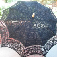 Black Battenburg Lace Parasol