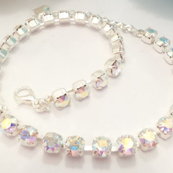 SWAROVSKI CRYSTAL BRACELET, ankle, 10 in, aroura borealis, 4mm, high sparkle, summer, fashion must have.