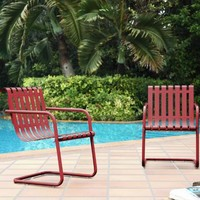Red Metal Aubrey Outdoor Armchairs Set of 2