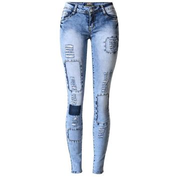 Summer Style Low Waist Sky Blue Patchwork Skinny Jeans Sexy Push Up Denim Jeans
