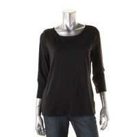 Charter Club Womens Ballet Neck Three-Quarter Sleeves Pullover Top