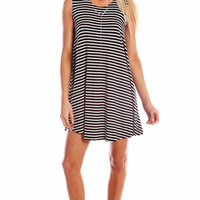 STRIPED FULL SWING TANK DRESS - BLACK