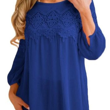 Cozy Royal Blue Crochet Detail Long Sleeve Babydoll Top
