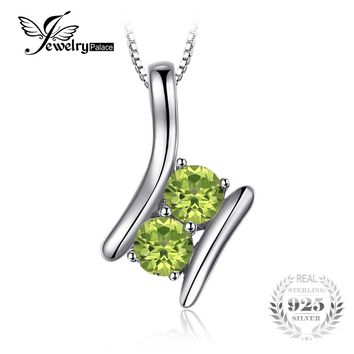 JewelryPalace Brand 0.82ct Natural Peridot 2 Stone Pendant For Women 100% 925 Sterling Silver Fine Jewelry Not Include the Chain